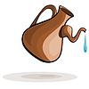 Tonkrug und Tropfen Wasser