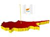 dreidimensionales Bild - Landkarte von Zypern mit Nationalflagge