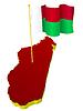 dreidimensionales Bild - Landkarte von Madagaskar mit Nationalflagge