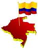 dreidimensionales Bild - Landkarte von Kolumbien mit Nationalflagge