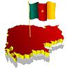 dreidimensionales Bild - Landkarte von Kamerun mit Nationalflagge