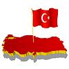 dreidimensionales Bild - Landkarte von der Türkei mit Nationalflagge