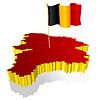 dreidimensionales Bild - Landkarte von Belgien mit Nationalflagge