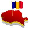 dreidimensionale Landkarte von Rumänien mit Nationalflagge