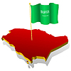 Map of Saudi Arabia with national flag | 向量插图
