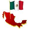 dreidimensionales Bild - Landkarte von Mexiko mit Nationalflagge