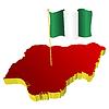dreidimensionales Bild - Landkarte von Nigeria mit Nationalflagge