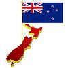 Lankarte von Neuseeland mit Nationalflagge