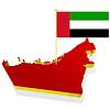 Lankarte von Vereinigten Arabischen Emiraten mit Flagge