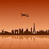 巴黎的飞机飞越 | 向量插图