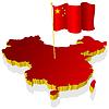 dreidimensionales Bild Karte von China mit Nationalflagge