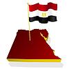 dreidimensionales Bild Karte von Ägypten mit Nationalflagge