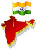 dreidimensionales Bild Karte von Indien mit Nationalflagge