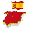 Landkarte von Spanien mit Nationalflagge