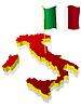 dreidimensionales Bild Karte von Italien mit Nationalflagge