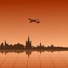 Stadtlandschaft von Moskau mit Flugzeug