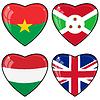Set von Bildern der Herzen mit Fahnen Herzen von Burkina Faso, G