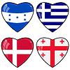 Set von Herzen mit Flaggen