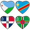 Set of hearts with flags | 向量插图