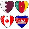 Serie von Herzen mit Flaggen