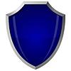 Schild aus blauem Glas im Stahlrahmen