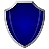 Schild aus blauem Glas im Stahlrahmen | Stock Vektrografik