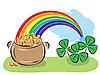 St. Patrick Day Topf mit Münzen, Regenbogen und Kleeblätter | Stock Vektrografik