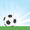 Fußball auf blauem glänzenden Stern-Hintergrund | Stock Vektrografik