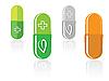 Set von Kapseln mit grünem Blatt | Stock Vektrografik