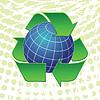 Erdkugel und Recycling Pfeile Symbole