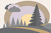 Hügel mit Tannen, Sonne und Wolken