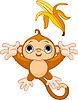 Lustiger Affe fangen Banane