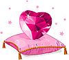 Liebe Herz auf dem rosa Kissen