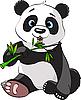 Панда ест бамбук | Векторный клипарт
