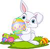 Ostern. Hase trägt Ei