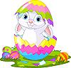 Ostern. Hase springt aus dem Ei