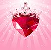 Kristall-Herz mit Krone auf radialen Hintergrund