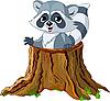 Waschbär im Baumstumpf