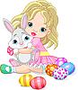 Kleines Mädchen und Osterhase