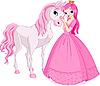 Schöne Prinzessin und Pferd