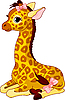 Векторный клипарт: детеныш жирафа с бантом