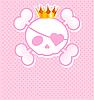 rosa Schädel mit Krone