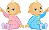 가리키는 두 아기 | Stock Vector Graphics