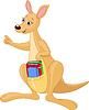 Karikatur-Känguru und Bücher