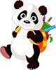 Netter Panda geht in die Schule
