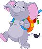 Netter Elefant geht in die Schule