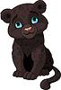 Черная пантера, детеныш | Векторный клипарт