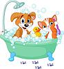 개와 고양이는 목욕을 갖는 | Stock Vector Graphics