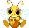 Милая пчелка ест мед | Векторный клипарт