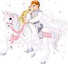 Romantisches Paar auf dem Pferd